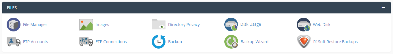 cPanel section for File management tools
